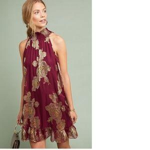 Anthropologie Metallic Rose Dress NWT